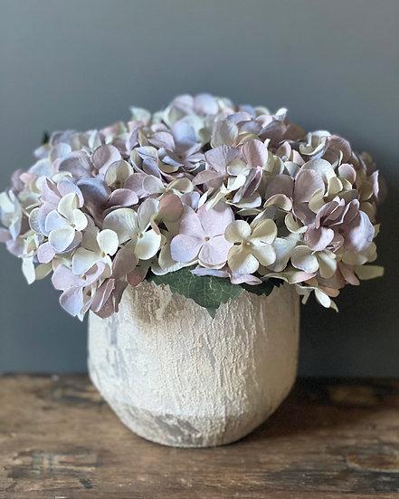 Faux hydrangea arrangement