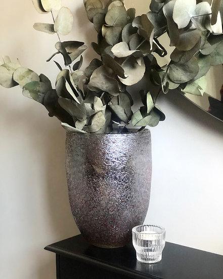 Textured metallic vase