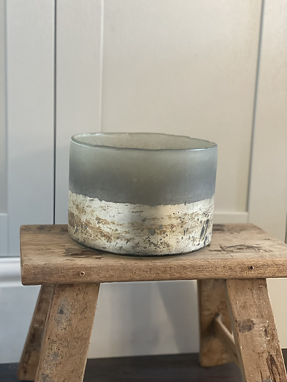 Large distressed smoked candle holder