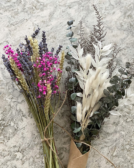 Lavender, wheat and pink gypsophilia bundle (left)
