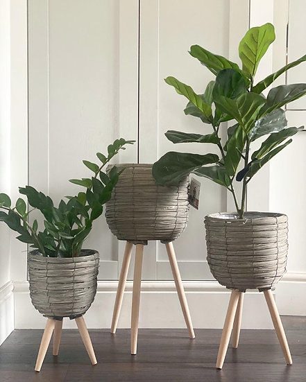 Washed grey planters on legs