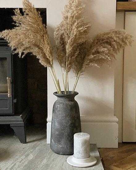 Bali black textured tall vase (30cm)