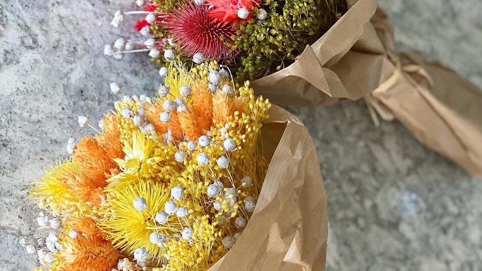 Yellow/Red mixed dried bouquet with our ribbed vase