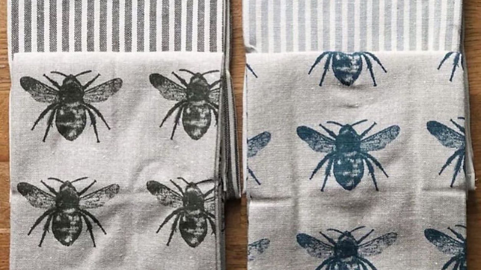 Prussia blue bee tea towels set of two