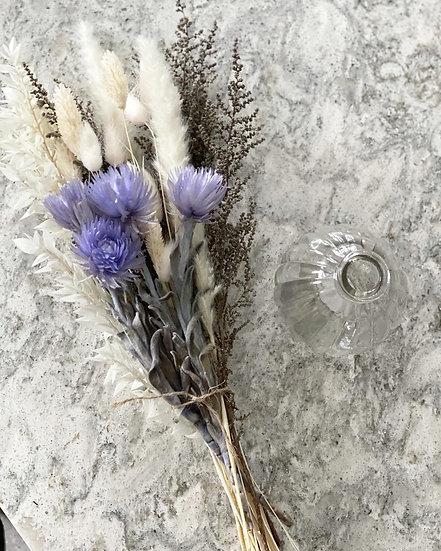 Lilac mini everlasting flower bouquet and vase bundle