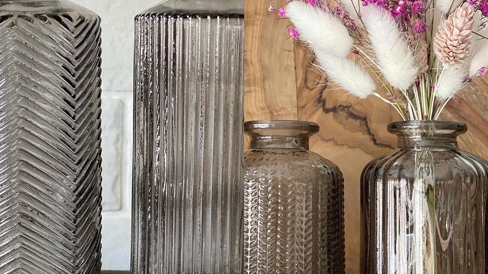 Taller/shorter smoked grey bud vases
