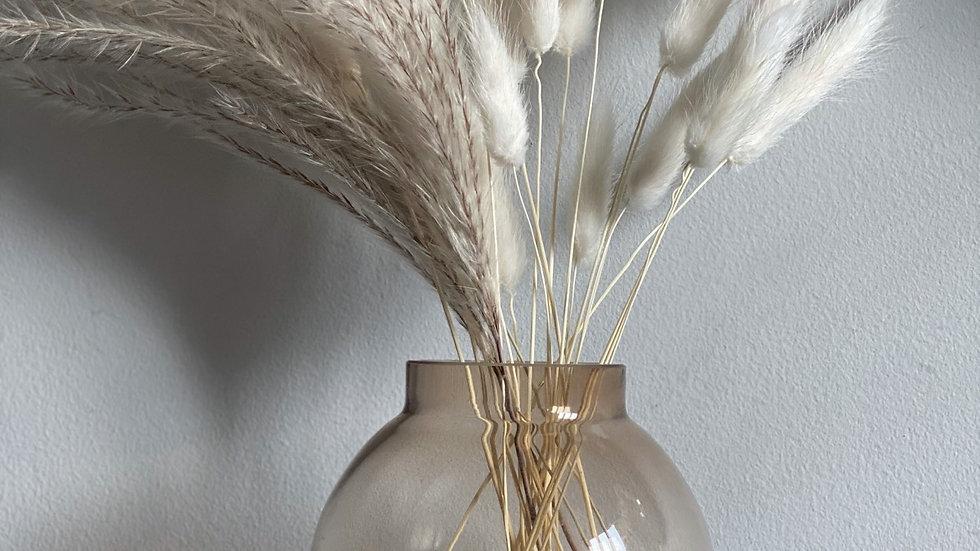 Smoked brown glass round bud vase