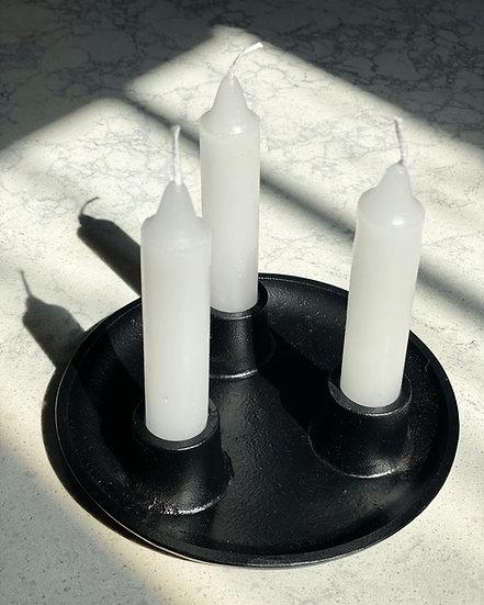 Black triple candle holder