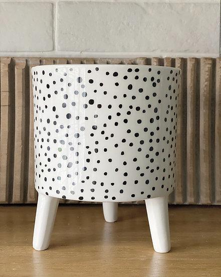 Polka dot planter on legs