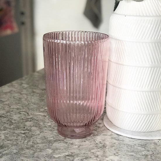 Pink hurricane ridged glass vase