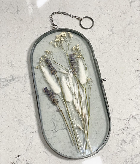 Custom- Hanging photo frame with pressed flowers