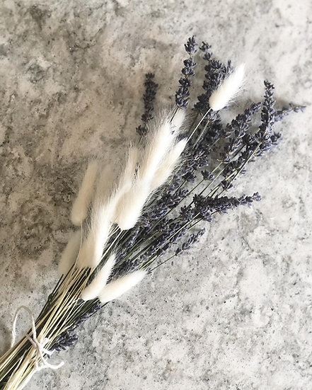 Bunch of lavender and white bunny tails