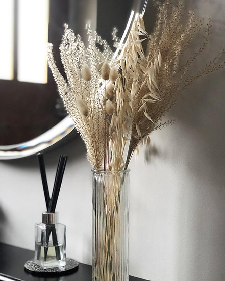 Fluffy reed grass, natural bunny tails and tall oat dried bouquet