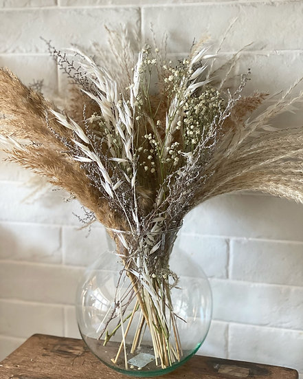 Large fluffy pampas and miscanthus bouquet and vase bundle
