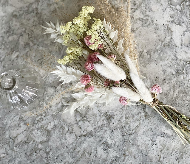 Lemon limonium and pink clove flower mini bouquet vase bundle