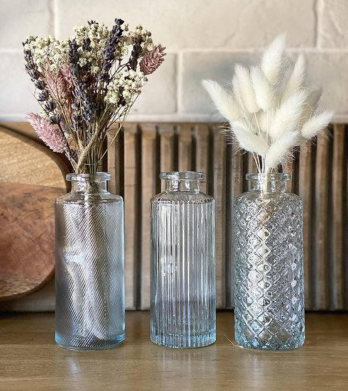 Clear glass taller bud vases