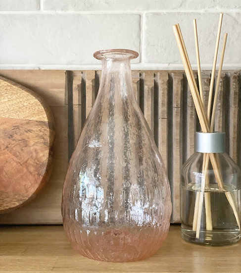 Pink bubble recycled glass vase