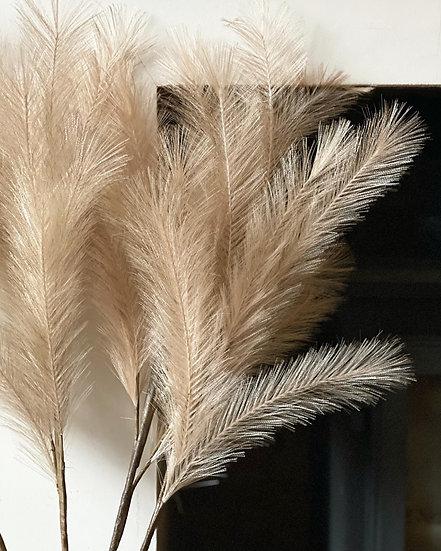 Faux cream feather pampas stem