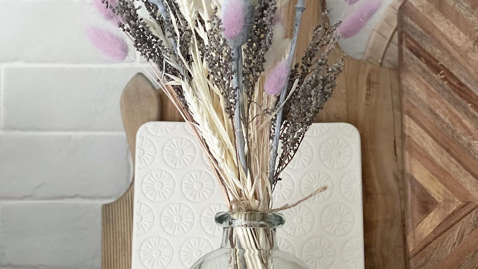 Grey poppy seed and lilac bunny tail bouquet