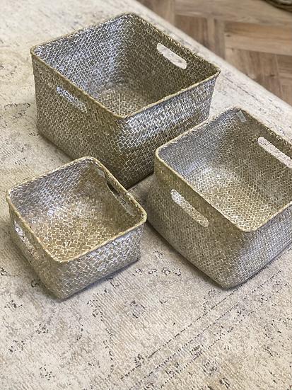 White wash woven baskets