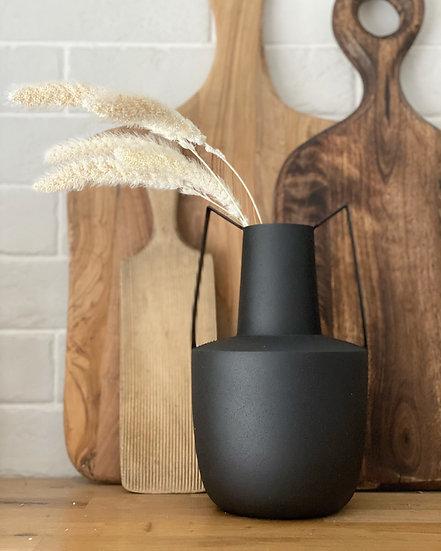 Black metal double handled vase