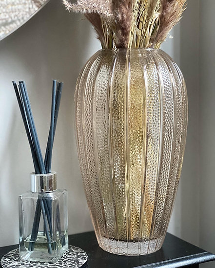 Large textured smoked glass vase