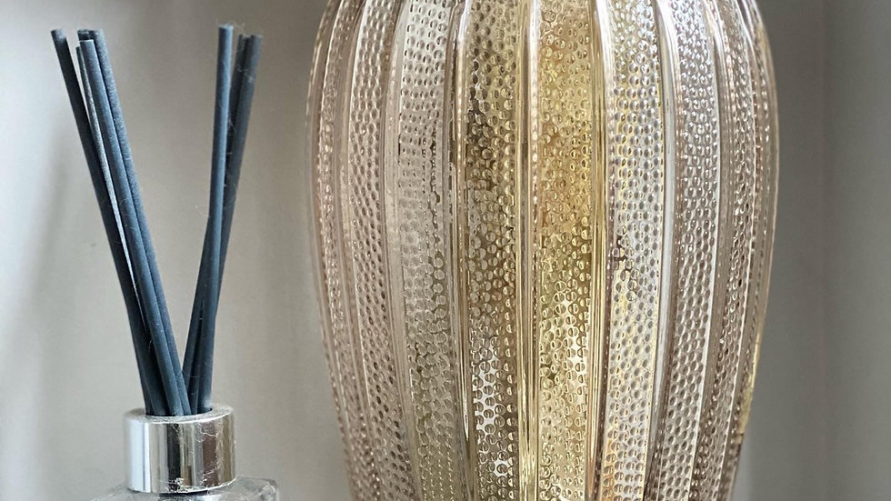 Large textured smoked glass vase