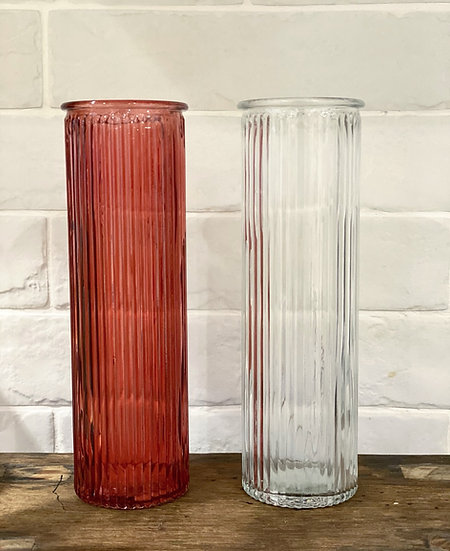 Coral red ribbed vase