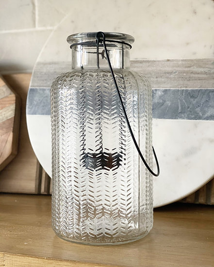 Herringbone glass lantern