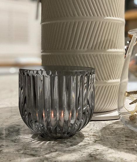 Smoked grey candle holder