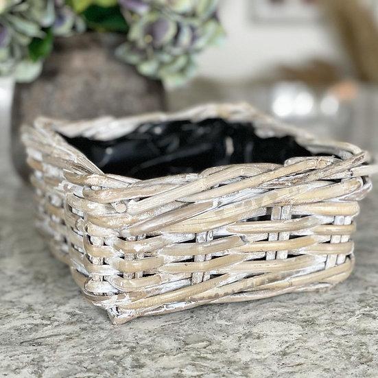 White wash square planter