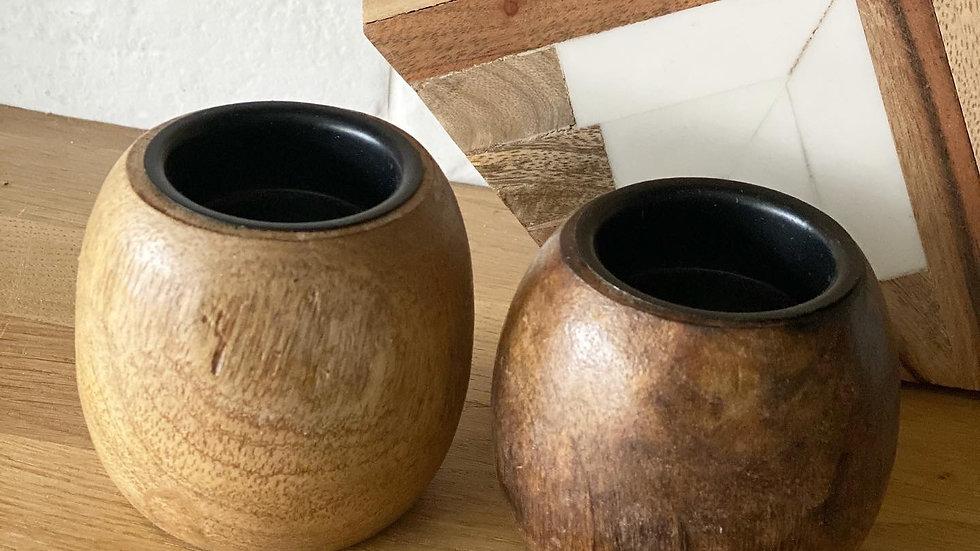 Mango tealight holder in dark brown (right)