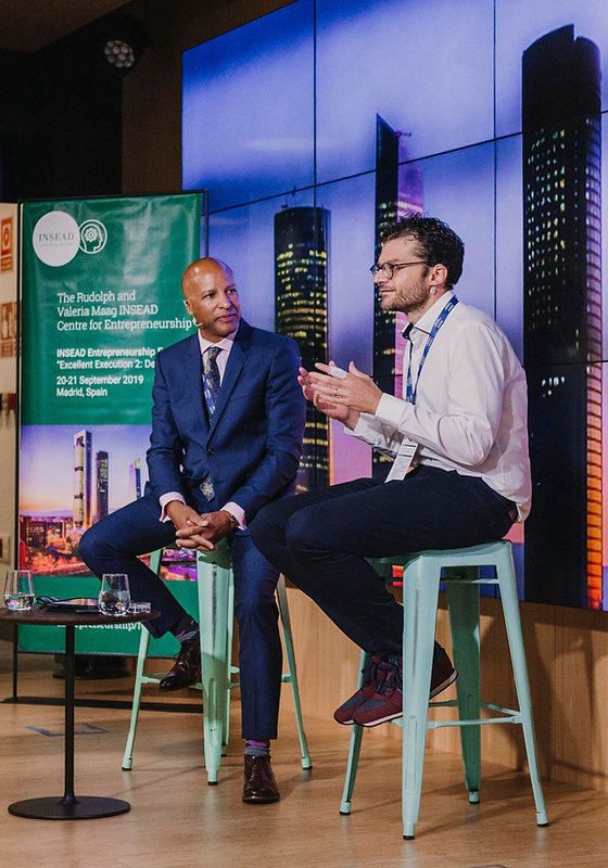 Adrian Johnson & Luca Verre at the 2019 INSEAD Entrepreneurship Conference in Madrid