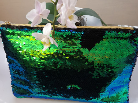 LUSH SEQUINNED MAKE UP/TOILETRY BAG