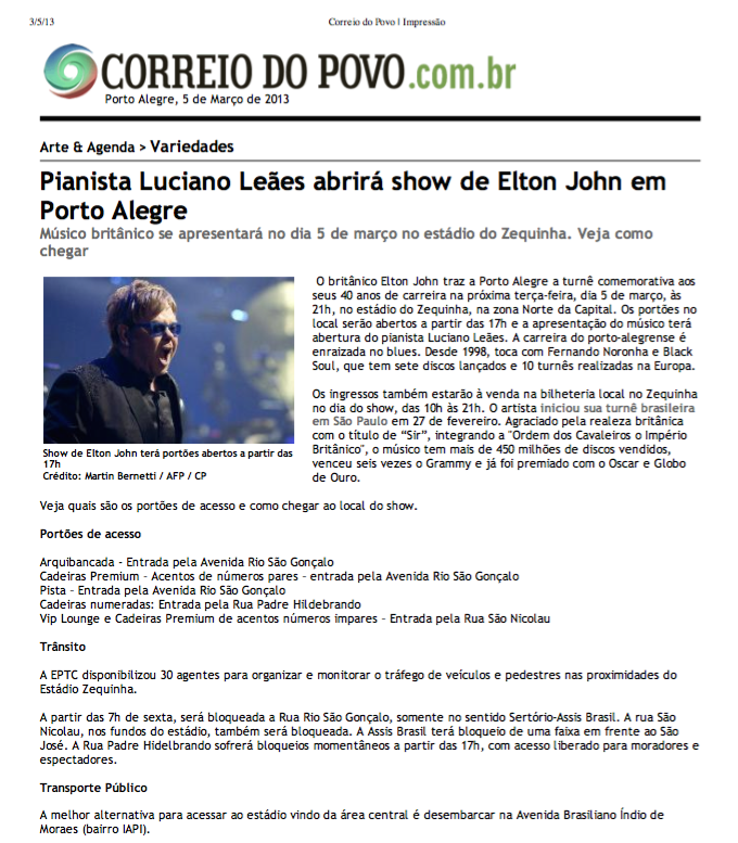 CORREIO abertura Elton John