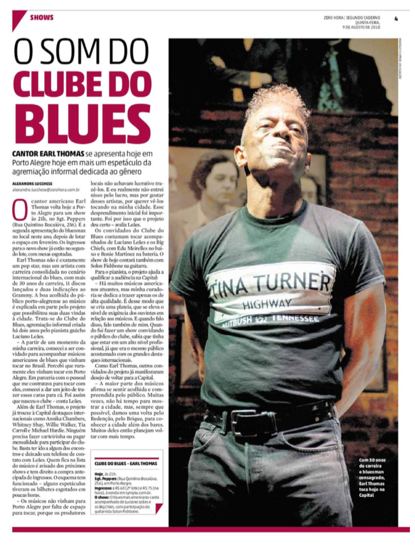 materia ZH clube do blues