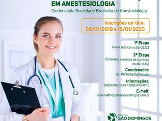 Inscrição do Programa de Especialização em Anestesiologia estão abertas