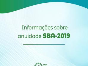 Informações sobre anuidade SBA-2019