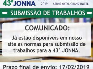 43° JONNA - Normas para submissão de trabalhos estão disponíveis