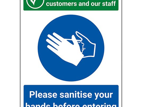 Please sanitise your hands before entering the shop!