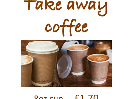Try our new larger 12oz cup double shot takeaway coffee!