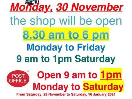 Extended Opening Hours!