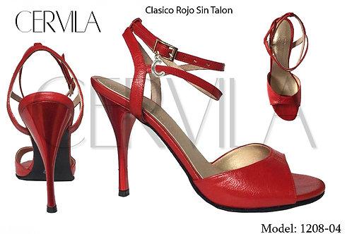 1208-04 Clasico Rojo S/T size 39 heel 3.5 in
