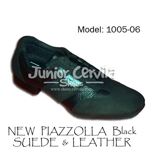 1005-06 New Piazzolla Black Leather Suede
