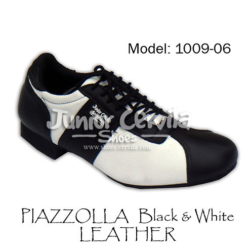 1009-06 Piazzolla Black and White Leather Size 39
