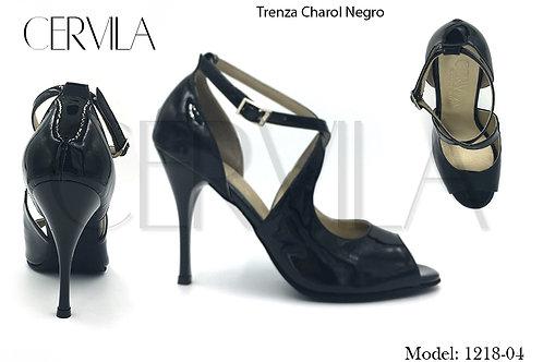 1218-04 Trenza Charol Negro size 36 heel 3.5 in