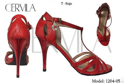 1204-05 T - Rojo size 38 heel 3.5 in