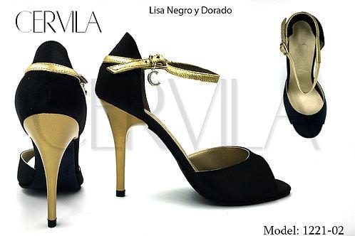 1221-02 Lisa Negro y Dorado