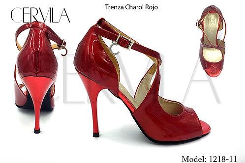 1218-11 Trenza Charol Rojo size 38 heel 2.75 in