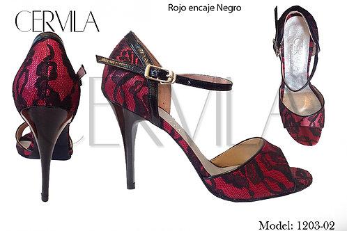 1203-02 Encaje Rojo size 39 heel 3.5 in